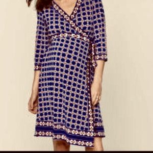 A Pea In The Pod Printed Wrap Maternity Dress S. M